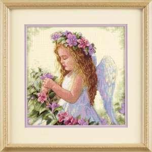 """Набір для вишивання хрестиком """"Квітковий ангел - Passion Flower Angel"""" DIMENSIONS 35229"""