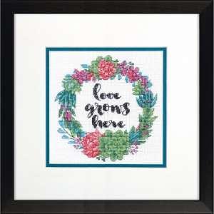 """Набір для вишивання хрестиком """"Succulent Wreath - Соковитий вінок"""" DIMENSIONS 70-65196"""