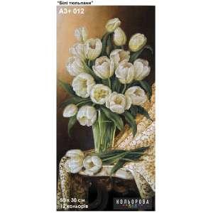 """Картина для вишивки формату A3+ 012 """"Білі тюльпани"""""""
