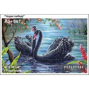 """Картина для вишивки формату A3+ 067 """"Чорні лебеді"""""""
