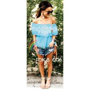 Блузка жіноча без рукавів з воланом БЖВ-006