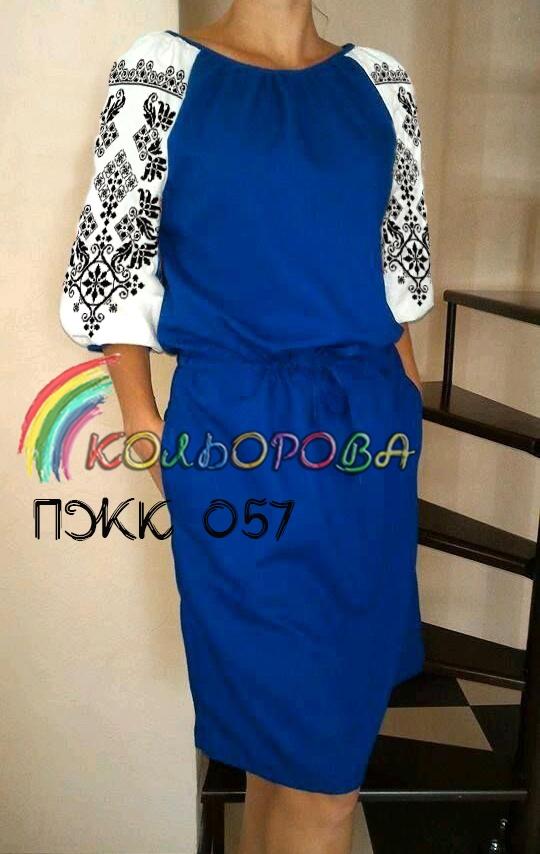Заготовка під вишивку жіночого комбінованого плаття ПЖК-057 5283950578443