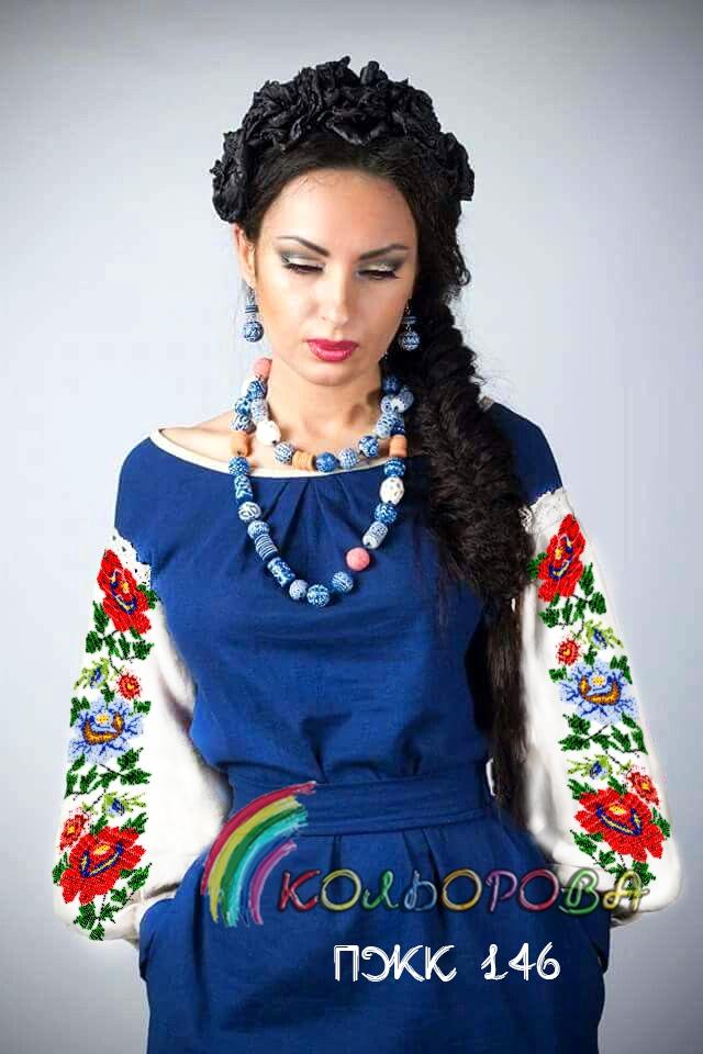 Заготовка під вишивку жіночого комбінованого плаття ПЖК-146 a3a6f8f3ed3bd